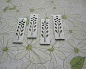Daisy Stencil Rectangle Charms SMALL Silver Tone Supplies on Etsy x 4