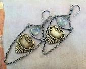 Victorian Heart Aquamarine Swing Earrings