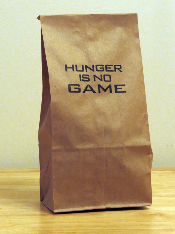 5 - Hunger is No Game - Humorous HUNGER GAMES Mockingjay Katniss parody lunch bags, gag gift bag, coworker gift, white elephant gift