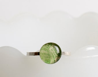 Ring | Postage stamp | Great Britain | Green | Small | Size 9
