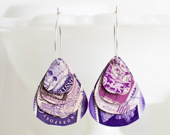 Teardrop earrings | Postage stamp | International | Purple | Layered Hoops