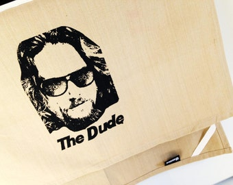 The Dude from The Big Lebowski kitchen dish towel. Silk screened cotton tea towel.