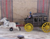 Vintage Cast Iron Stage Coach and Horses, Antique Toy, Antique Cast Iron, Antiique Stagecoach, West, Metal, Vintage Toy, 1950s, actorteam
