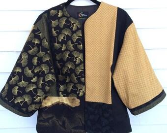 Black and Gold Kimono Jacket with Crane