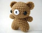Custom Teddy Bear Amigurumi - Bear Doll with Keychain or Ornament Options - Choose Your Own Color