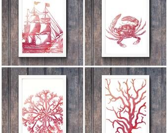 Watercolor Nautical  prints - Set of four - Printable wall art Warm red/orange
