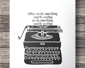 "Vintage typewriter print  - Benjamin Franklin quote - Printable typewriter wall art - ""write something"" digital print"