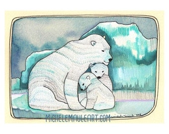 Polar Bear Art - Art Print - Watercolor Print - Print of Polar Bears - Polar Bear Family Print - 5x7 Art Print - Polar Bear Family