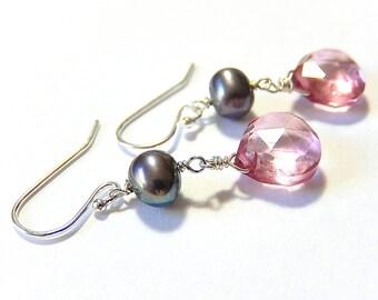 Pink Quartz Earrings,  Pearl Drops, Mystic Quartz Sterling Silver Teardrop Earrings