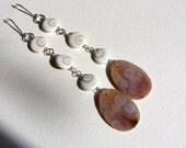 Orbicular Ocean Jasper Druzy slice, Shiva shell, sterling silver  earwire,earrings