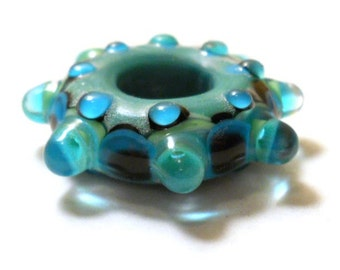 Dark aqua lampwork glass bead handmade mandala, artisan glass big hole kaleidoscope focal bead pendant, jewelry supplies, SRAJD