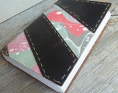 Handmade Leather Journal or Sketchbook - dark brown leather with marbling