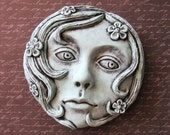 Maiden - Hand Painted - cement cast - Wall Decor - Girl - Face - Flowers - Wall hanging - Sculpture - Hydrocal - Gypsum - Patina