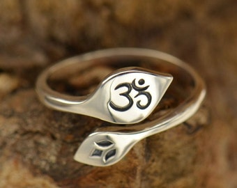 Om and Lotus Flower Ring - Adjustable - Sterling Silver