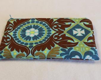 Pencil Case Cosmetic Bag Gadget Case Zipper Pouch Teal Brown