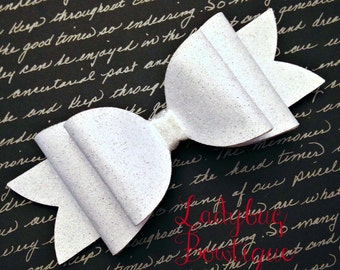 Wool Felt Glitter Oversized Hair Bow ~ Super Sparkle ~ White ~ Headband Clip or Barrette ~ Custom Choice ~