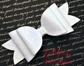 Wool Felt Glitter Oversized Hair Bow ~ Super Sparkle ~ White ~ Headband Clip or Barrette ~ Custom Choice ~