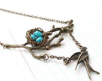 Wire Wrapped Nest on Branch with Bird  Pendant Necklace with Turquoise Blue beads, Mother, New Mom, Nature Inspired Wedding, Bridesmaid