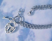 Heart Lock Key Charm Bracelet Stainless Steel Chains Valentine love Choose chain Key To Heart