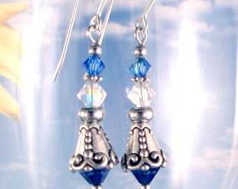 Blue Ice Sapphire Earrings Swarovski Crystals Steel or Sterling Silver Ear Wires Birthstone Colors