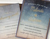Starry Night Wedding Invitation Watercolor Twilight Navy Blue Antique Gold Set of 10