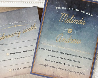 Starry Night Wedding Invitation - twilight wedding invite - outdoor wedding - celestial wedding - navy and gold invitations - Texas party