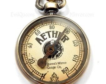 Aether Gauge Monitor, Steampunk Cosplay, Steam Punk Costume, Antique Bronze, DIY Materials, Victorian Accessories Steampunk Science Necklace