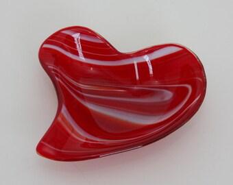 Swirl Heart Shaped Serving Bowl Dish Plate Platter Dish Table Art Artglass D-0077A