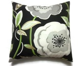 Decorative Pillow Cover Black White Gray Gold Lime Green Big Bold Floral Design Same Fabric Front/Back Toss Throw Accent 18x18 inch x
