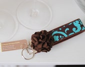 Brown and Teal Flower Wristlet Key Fob
