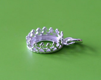 Gallery Bezel Crown Setting Pendant • 8x10 mm Oval • Sterling Silver • Ready to be Set with Your Own Stone • Supplies