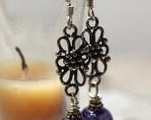 IMJ Glow-in-the-Dark Purple Lampwork and Sterling Silver Dangle Earrings