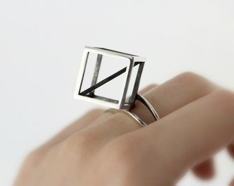 Cube ring - sterling silver statement ring