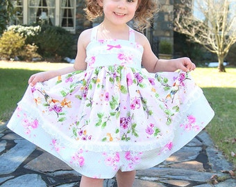 Girls Dress Easter Birthday shabby Flower Girl dress chic tea party pink green white lace Twirl Dress Size 12 months  to 12 yrs