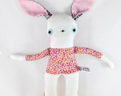 White Linen Bunny Rabbit Soft Toy - Liberty of London -  New Baby Gift - Multi Floral