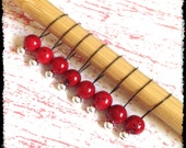 Snag Free Stitch Markers Medium Set of 8 -- Red Stone -- M29 -- For up to size US 11 (8mm) Knitting Needles