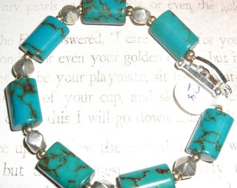 Turquoise, gold filled and sterling bracelet