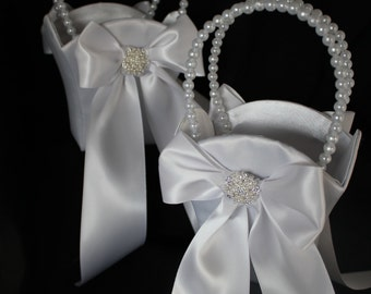 2-Flower Girl Basket with Round Pearl and Rhinestone Cluster Accent-Custom Ribbon Colors-Contact Seller