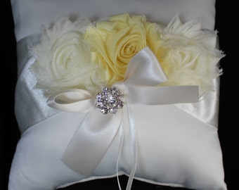 Cream or White Ring Bearer Pillow with Shabby Chic Trim in Ivory and Pale Yellow- Rhinestone