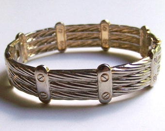 SJK VINTAGE --  Pale Gold Tone Clamper Bracelet of Ropes and Bolts (1980's)