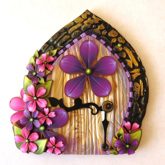 Purple and pink flower fairy door miniature pixie by claybykim for Pink fairy door