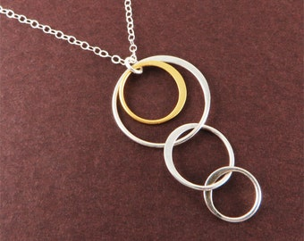 Silver Ring-n-Ring Necklace Minimalist Jewelry Gift for Stylish Modern Woman under 50