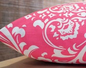 Add Personalization - DESIGNER Pet Bed Duvet Cover - Stuff with Pillows - YOU Choose Fabric - Ozborne Damask Candy Pink/White shown