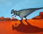 Digital Print of Dinosaur with X-Wing toy spaceship from Star Wars  8.5 x17 from original Acrylic Painting