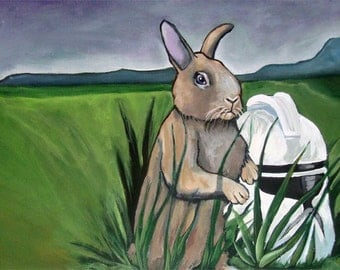 Digital Print of a Bunny in a field with a Clone Helmet from Star Wars 7x14 from original Acrylic Painting