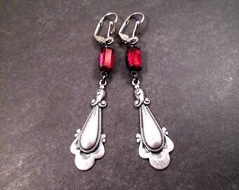 Rhinestone Earrings, Red Glass Stones, Oxidized Silver Drop Pendants, Long Dangle Earrings, FREE Shipping U.S.