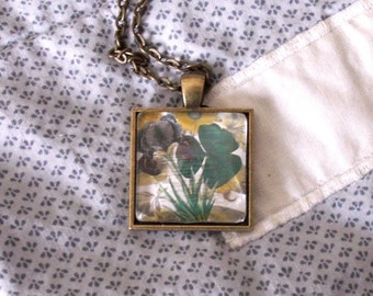 "Shamrock Collage Necklace,  St. Patrick's Day,  Pendant w Iris, Daisy Antique Brass Setting,  24"" Chain Good Luck, Irish Gift, BFF Gift, Bag"