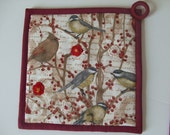 Fabric Potholders - Set of 2 each different - Birds in Trees - hand crocheted flowers