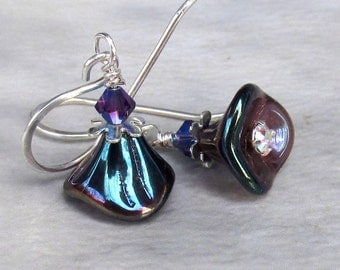 Petite Purple Rainbow Flower Earrings, Glass Flowers and Swarovski Purple Velvet Crystals, Sterling Silver Handmade Earwires