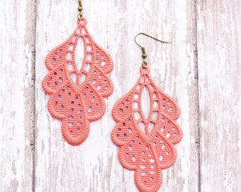 Coral Hand Painted Brass Earrings Boho Jewelry Large Earrings Lightweight Earrings Coral Earrings Statement Earrings
